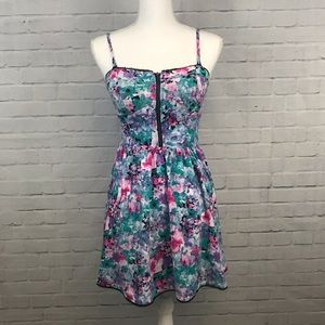 Pink and green floral dress size M